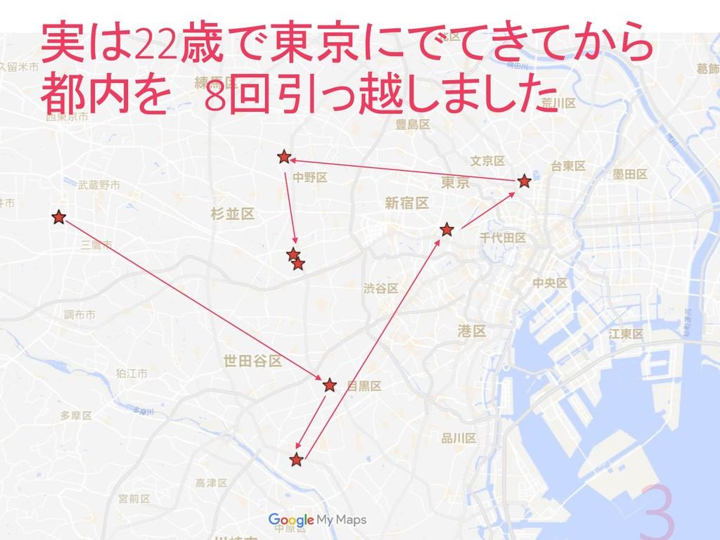 実は22歳で東京にでてきてから 都内を 8回引っ越しました