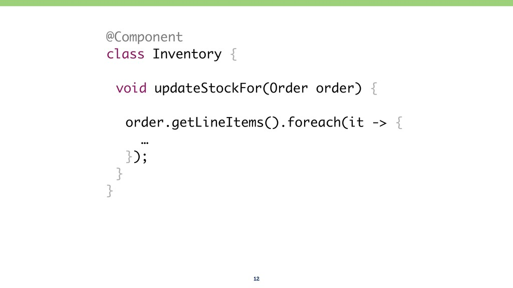 12 @Component class Inventory { void updateStoc...