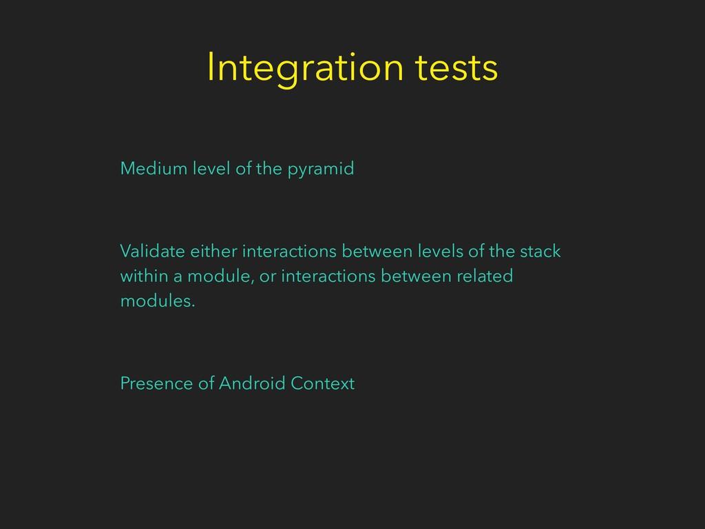 Integration tests Medium level of the pyramid V...