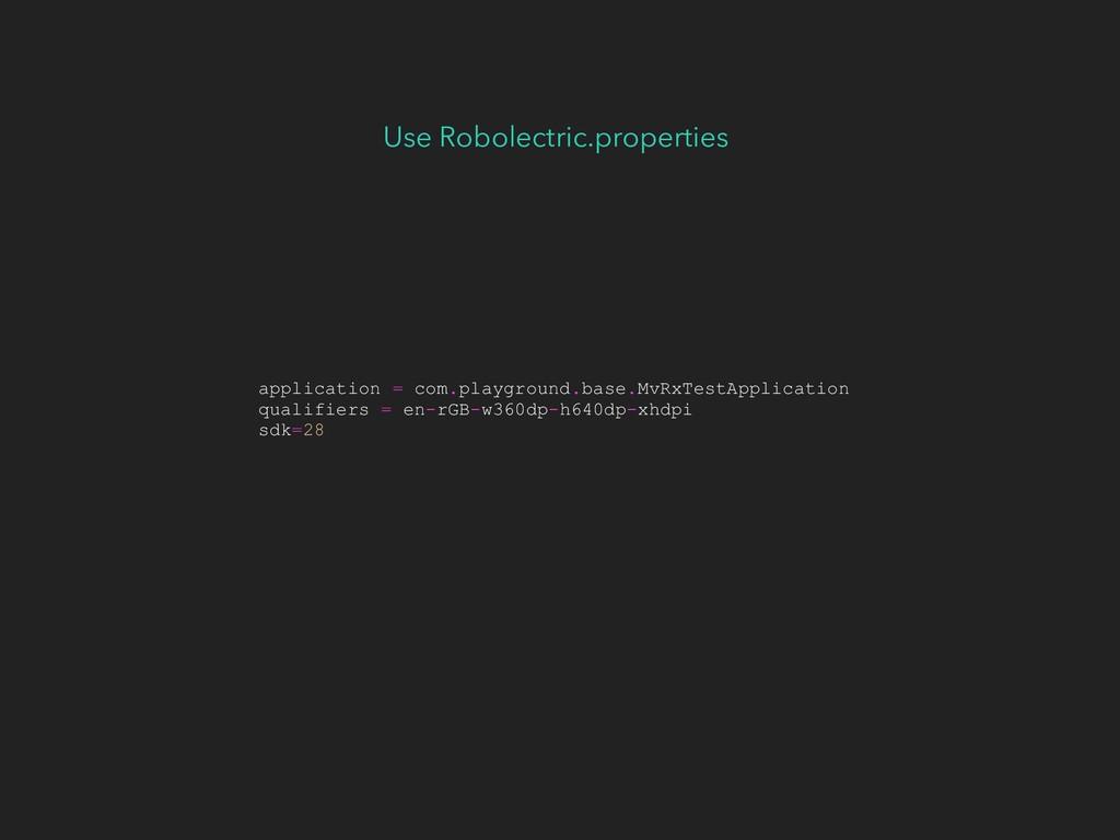 Use Robolectric.properties application = com.pl...
