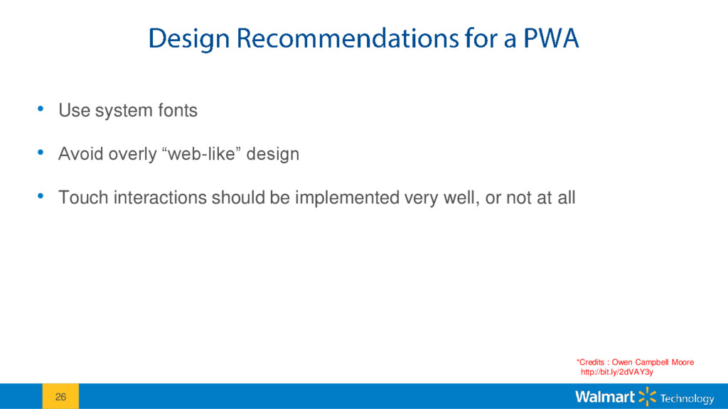 """• Use system fonts • Avoid overly """"web-like"""" de..."""