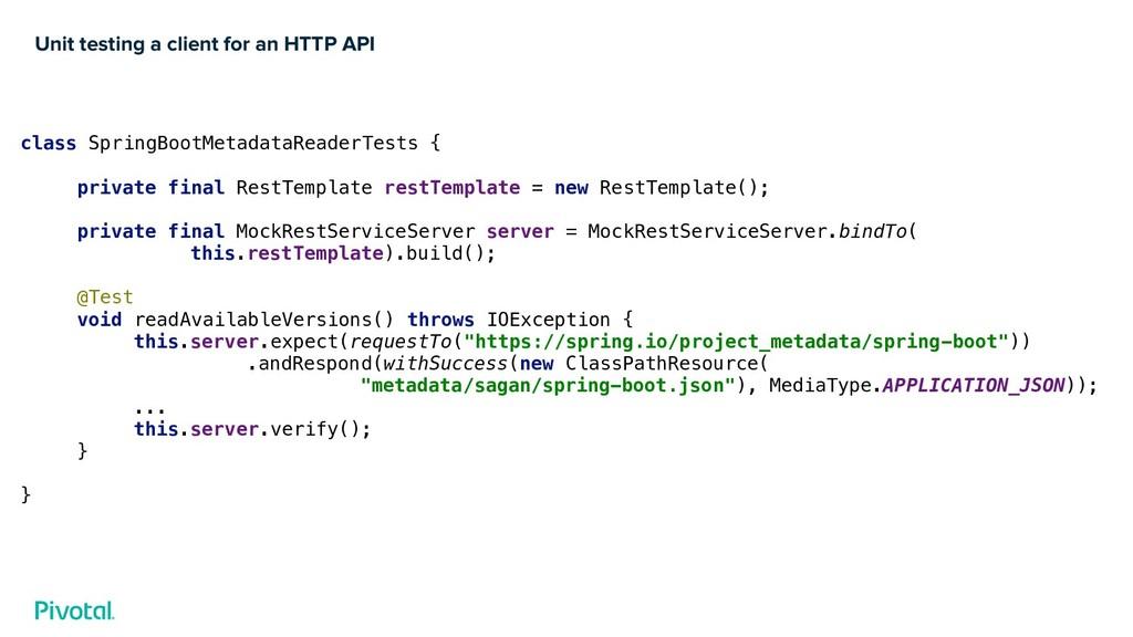 Unit testing a client for an HTTP API class Spr...