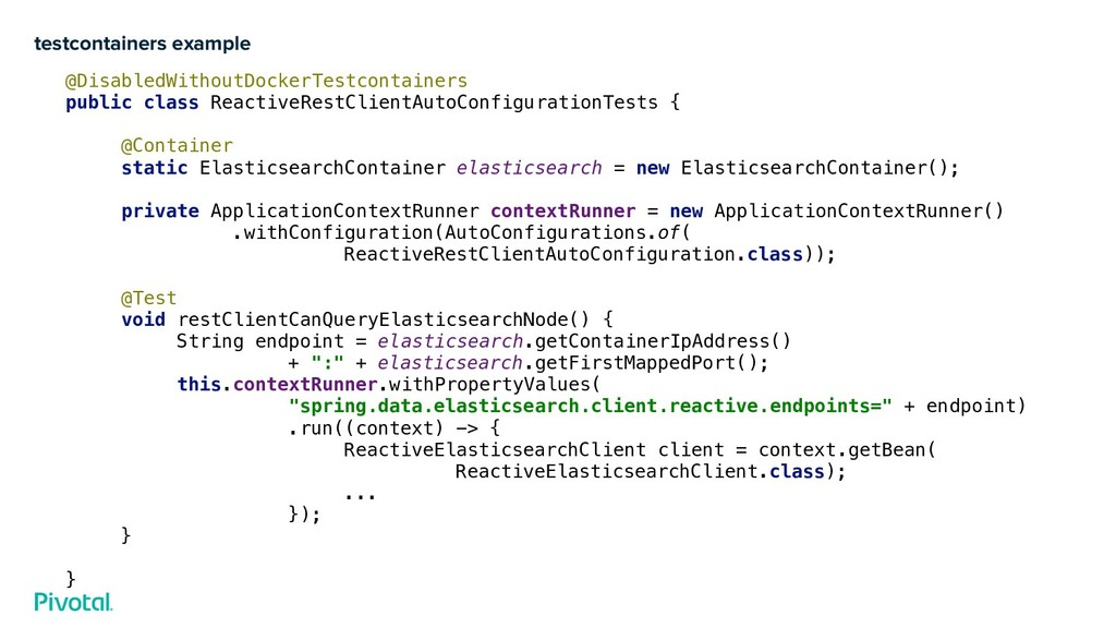 testcontainers example @DisabledWithoutDockerTe...