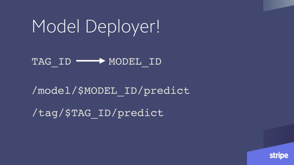 Model Deployer! /model/$MODEL_ID/predict /tag/$...