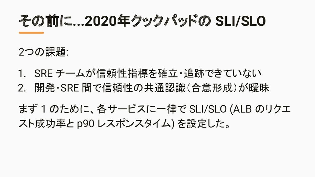 その前に...2020年クックパッドの SLI/SLO 2つの課題: 1. SRE チームが信...