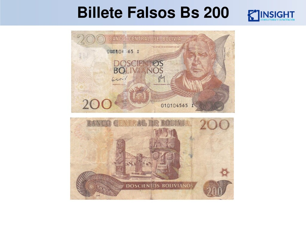 Billete Falsos Bs 200