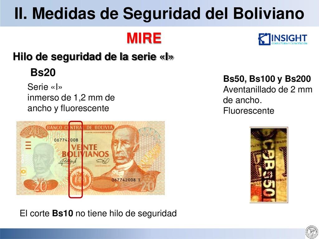 II. Medidas de Seguridad del Boliviano MIRE Hil...