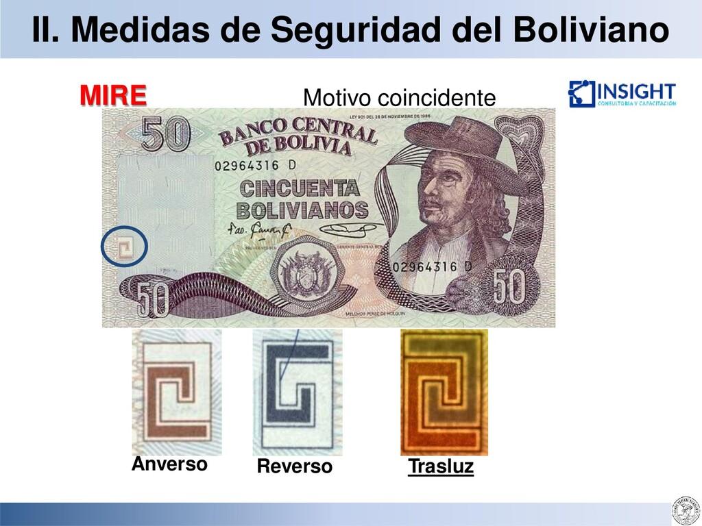 II. Medidas de Seguridad del Boliviano MIRE Tra...