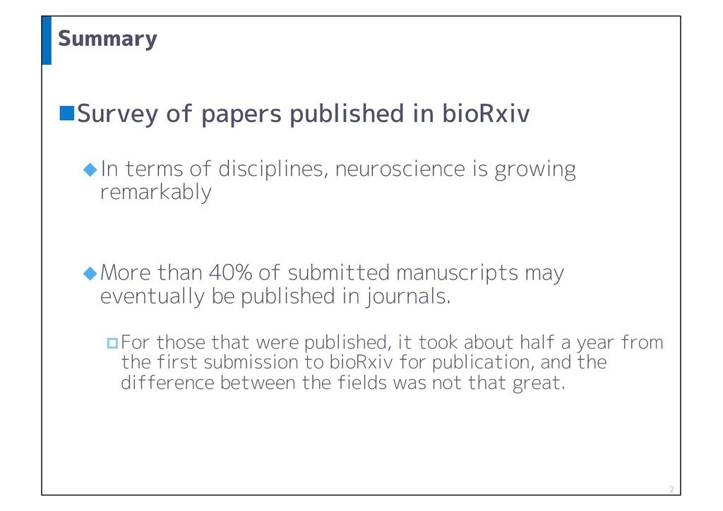 Summary nSurvey of papers published in bioRxiv ...
