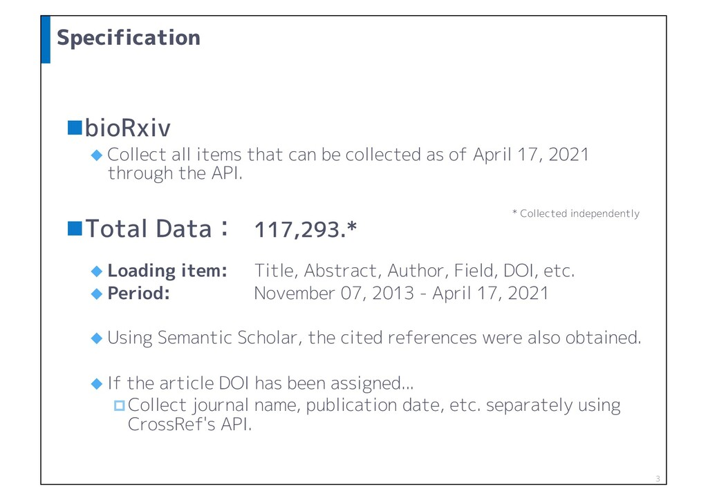 Specification nbioRxiv u Collect all items that...