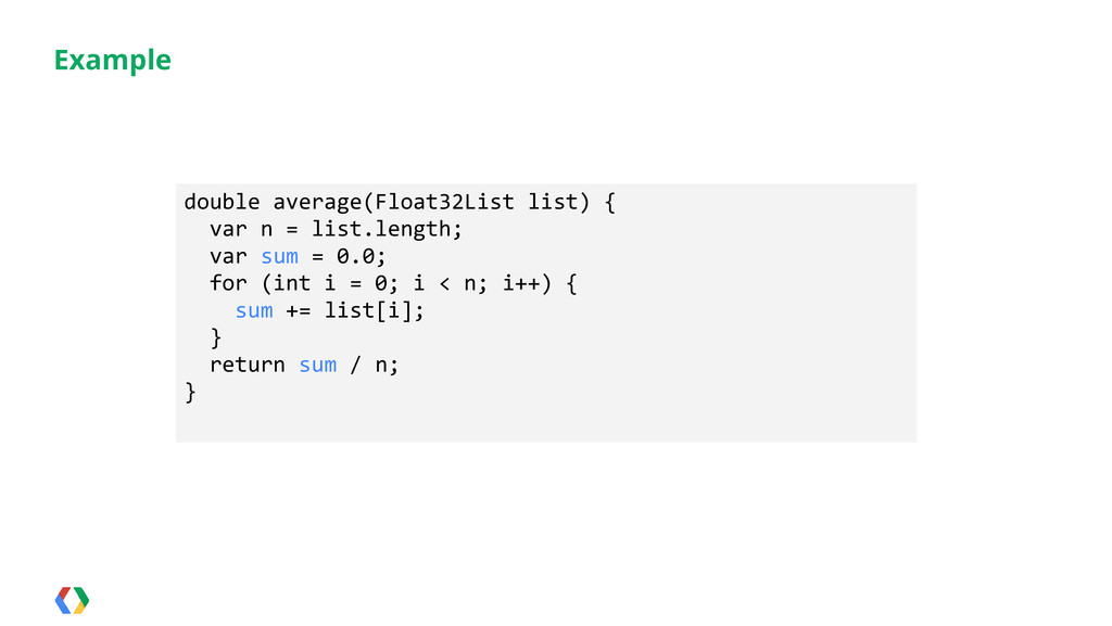 Example double average(Float32List list) { var ...