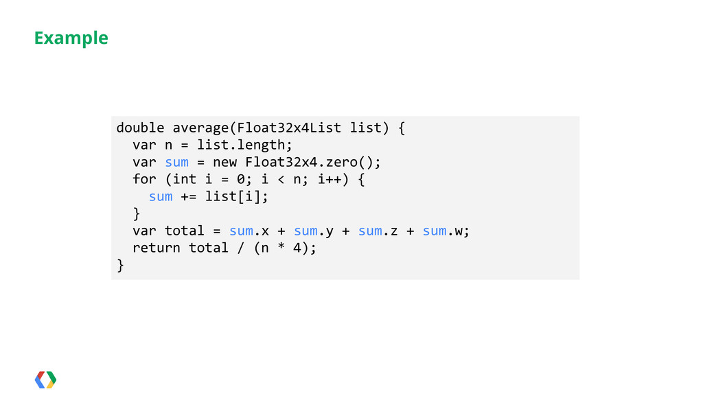 Example double average(Float32x4List list) { va...