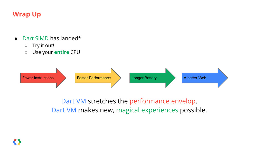 ● Dart SIMD has landed* ○ Try it out! ○ Use you...