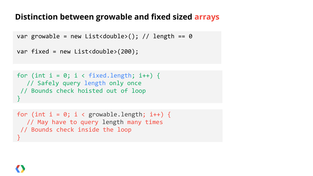 Distinction between growable and fixed sized ar...