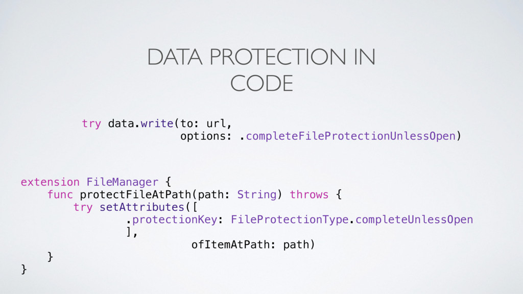 DATA PROTECTION IN CODE extension FileManager {...