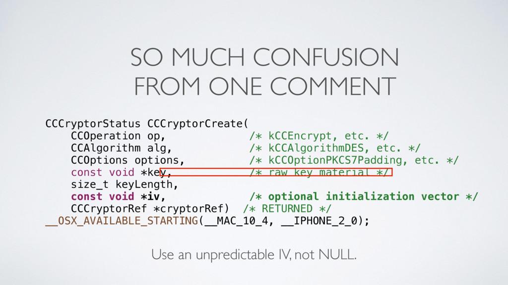 CCCryptorStatus CCCryptorCreate( CCOperation op...