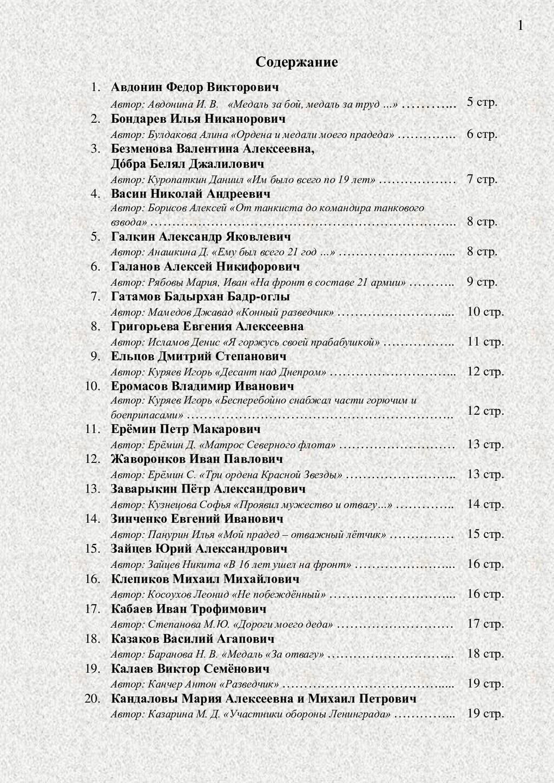 Содержание 1. Авдонин Федор Викторович Автор: А...