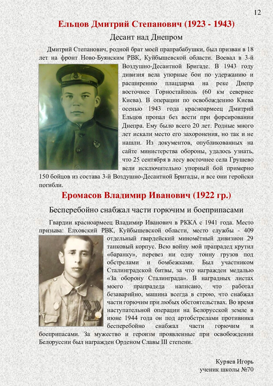 Ельцов Дмитрий Степанович (1923 - 1943) Десант ...