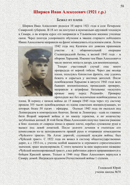 Ширяев Иван Алексеевич (1921 г.р.) Бежал из пле...