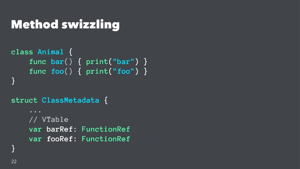Method swizzling class Animal { func bar() { pr...