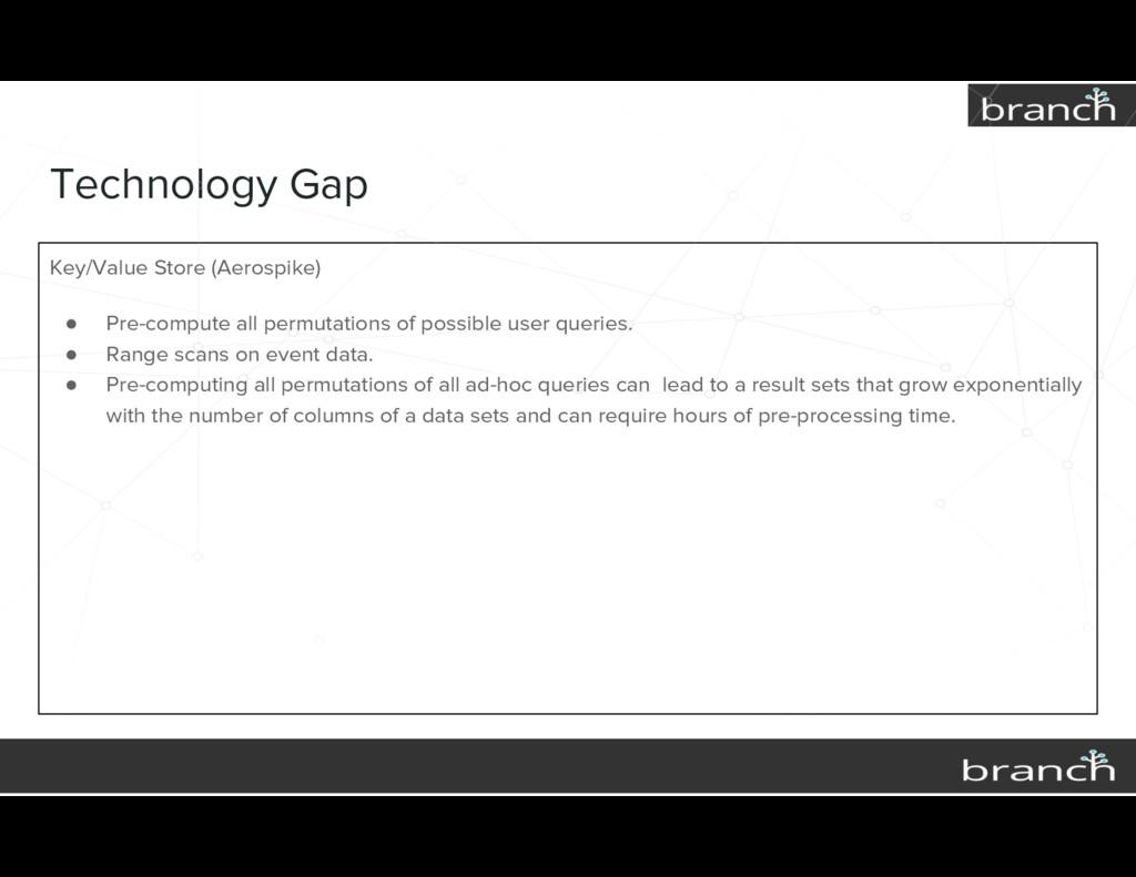 Technology Gap Key/Value Store (Aerospike) ● Pr...