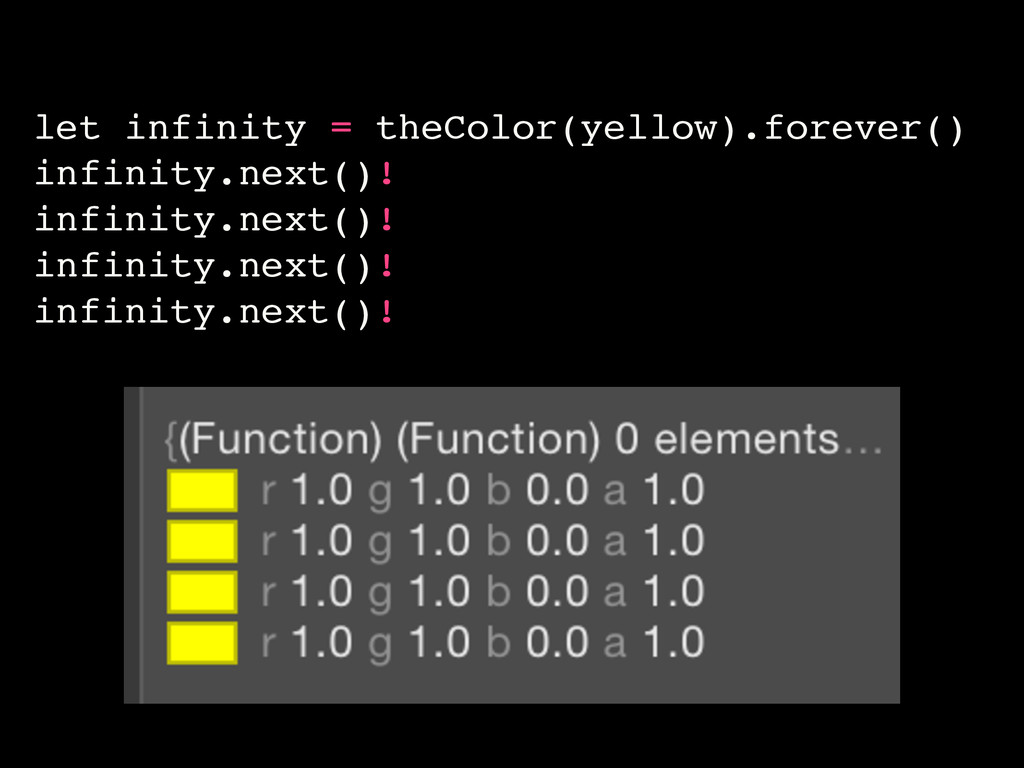 let infinity = theColor(yellow).forever() infin...
