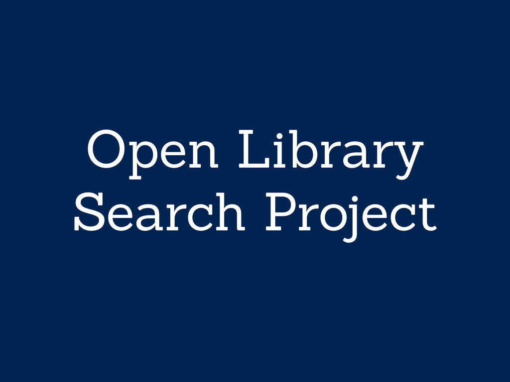 Open Library Search Project