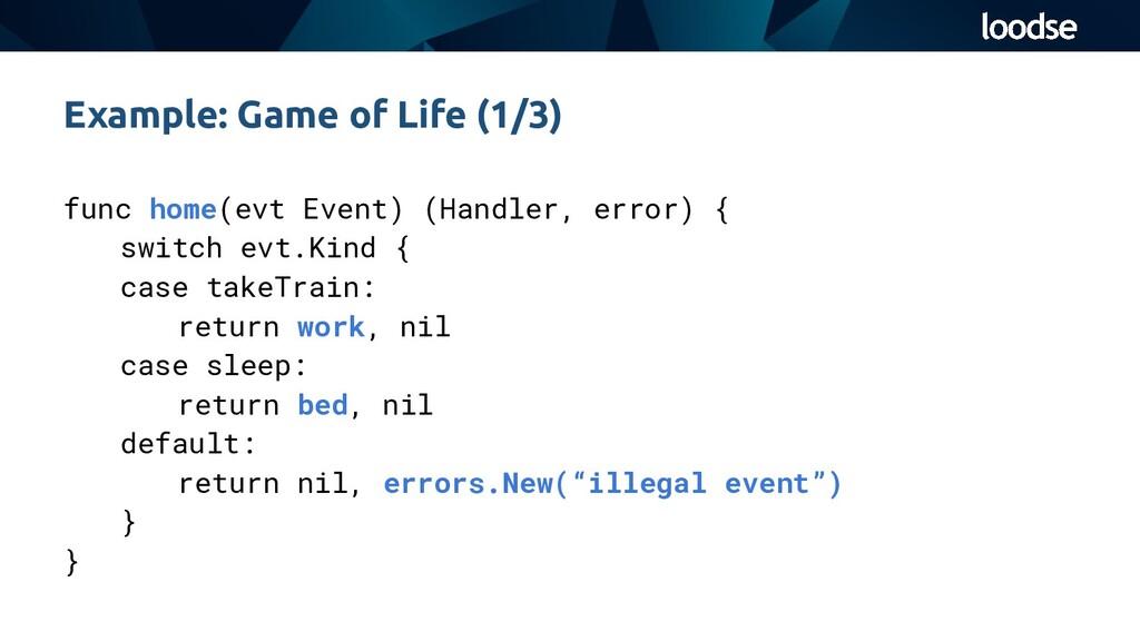 func home(evt Event) (Handler, error) { switch ...