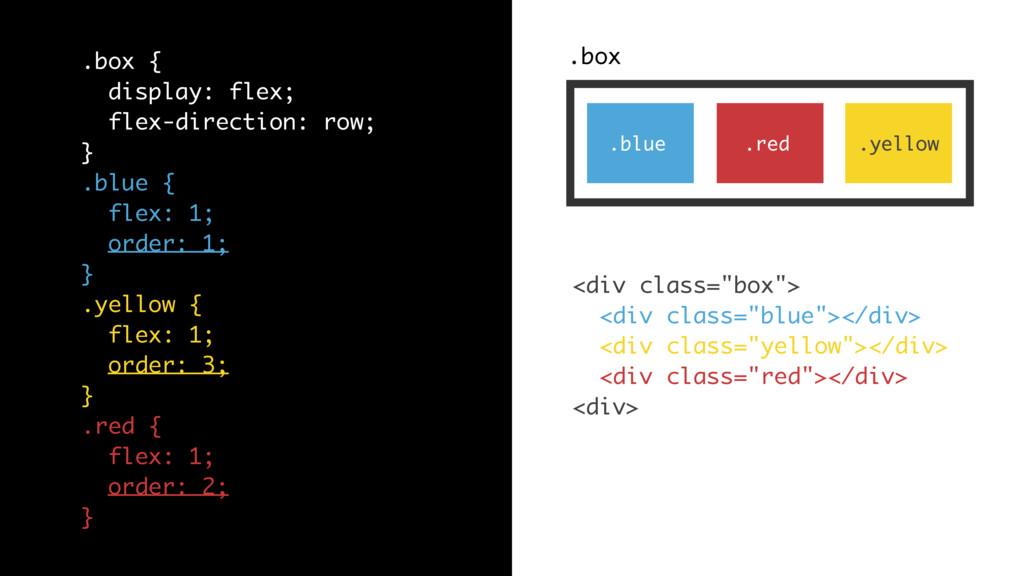 .box .blue .yellow .red .box { display: flex; f...