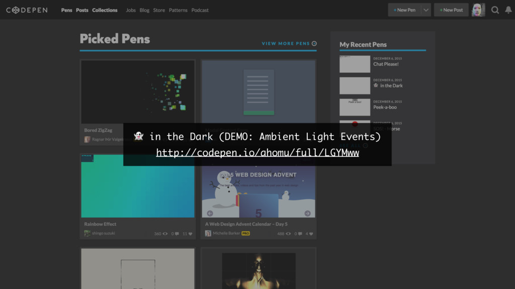 in the Dark (DEMO: Ambient Light Events) http:...