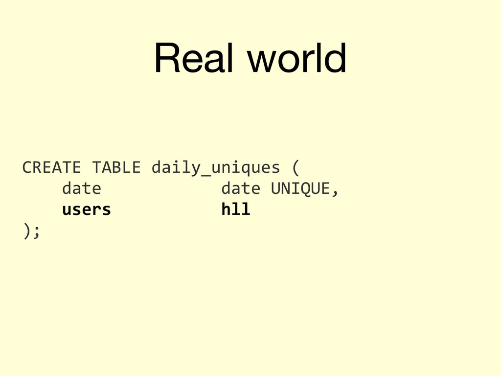 Real world CREATE	