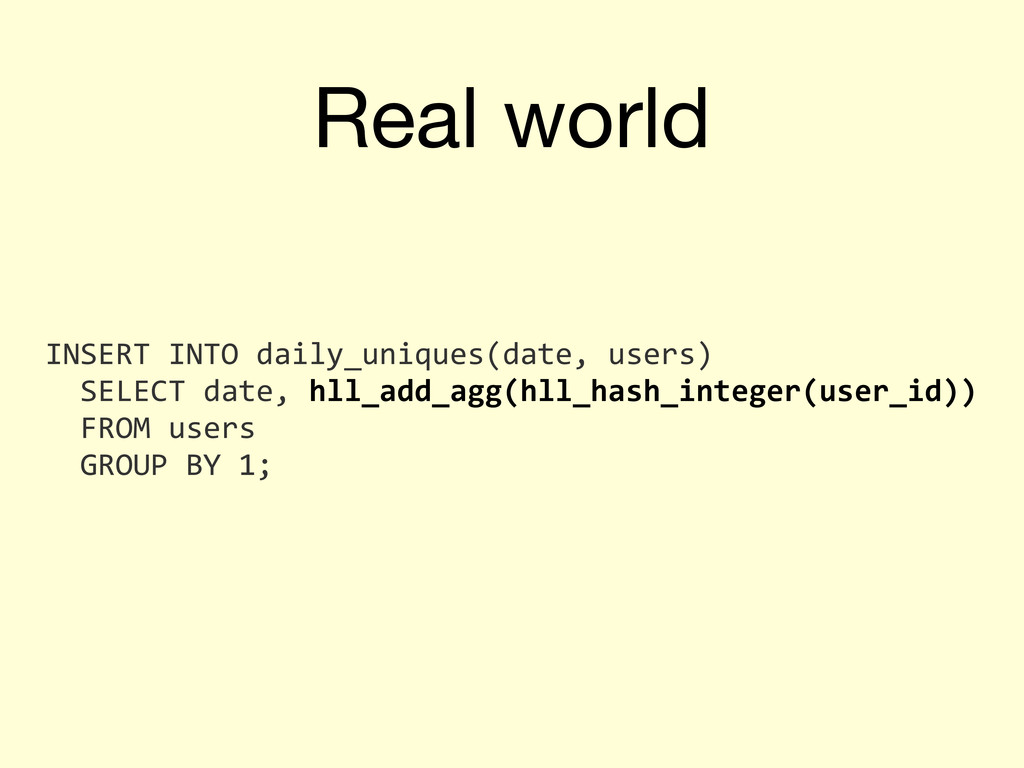 Real world INSERT	