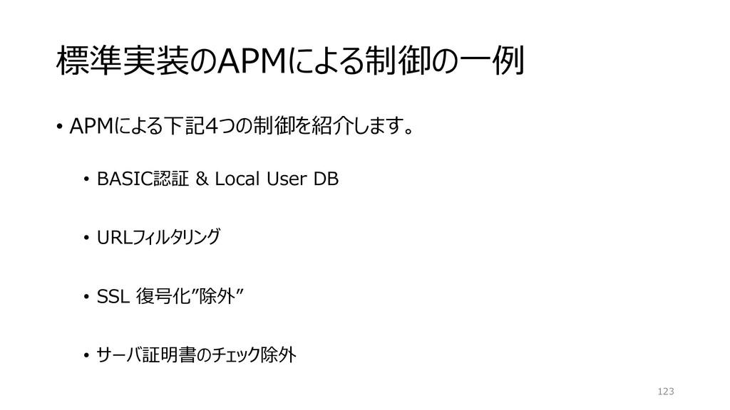 標準実装のAPMによる制御の一例 • APMによる下記4つの制御を紹介します。 • BASIC...