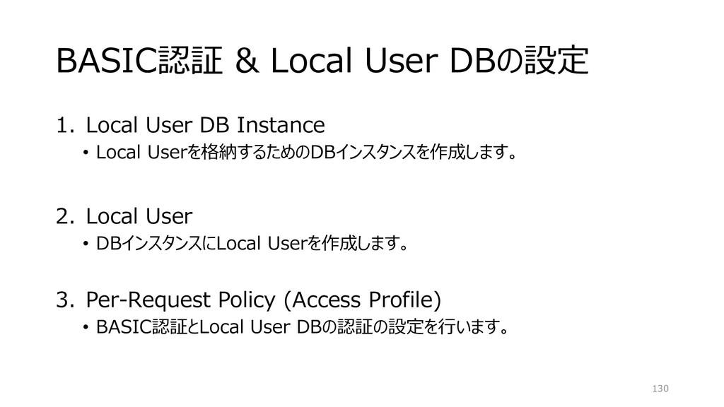 BASIC認証 & Local User DBの設定 1. Local User DB Ins...