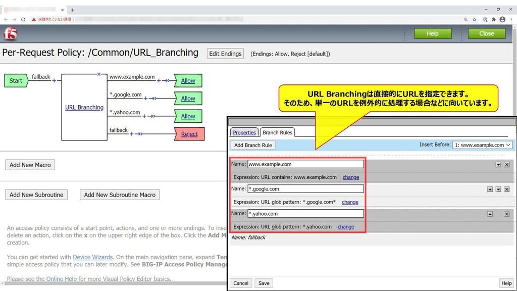 154 URL Branchingは直接的にURLを指定できます。 そのため、単一のURLを例...