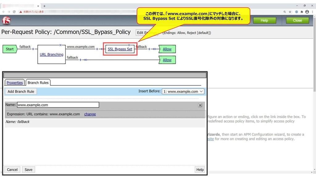 160 この例では、「www.example.com」にマッチした場合に、 SSL Bypas...