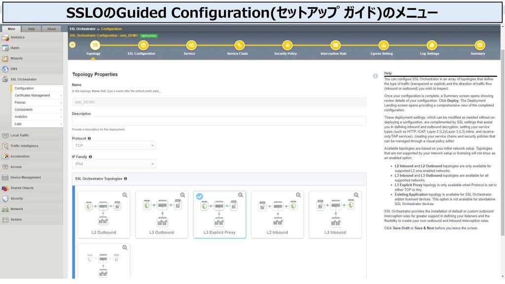 25 SSLOのGuided Configuration(セットアップ ガイド)のメニュー