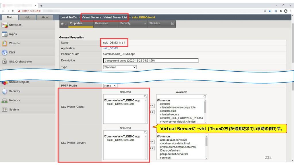 232 Virtual Serverに -vht (Trueの方)が適用されている時の例です。