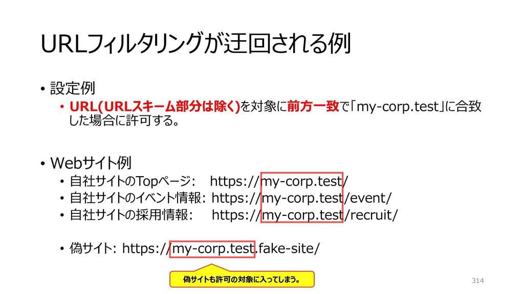 URLフィルタリングが迂回される例 • 設定例 • URL(URLスキーム部分は除く)を対象に...