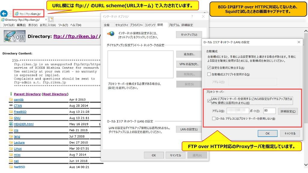 347 BIG-IPはFTP over HTTPに対応してないため、 Squidで試したときの...