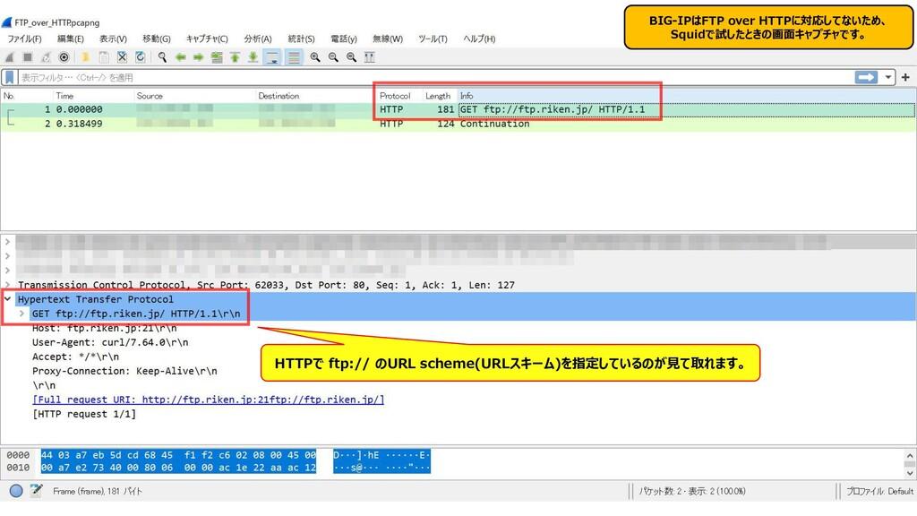 348 BIG-IPはFTP over HTTPに対応してないため、 Squidで試したときの...