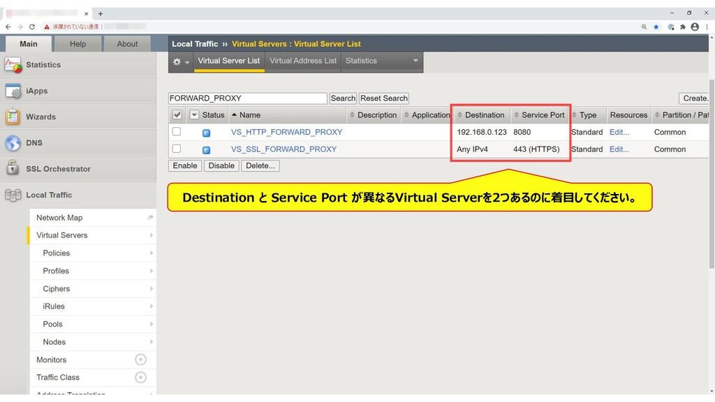 68 Destination と Service Port が異なるVirtual Serve...