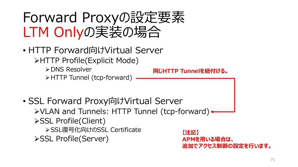 Forward Proxyの設定要素 LTM Onlyの実装の場合 • HTTP Forwar...