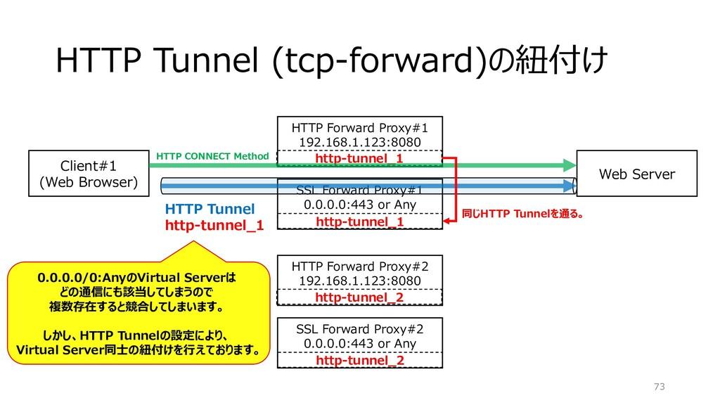 HTTP Tunnel (tcp-forward)の紐付け 73 SSL Forward Pr...