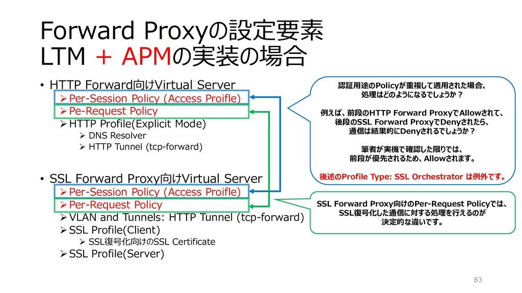 Forward Proxyの設定要素 LTM + APMの実装の場合 • HTTP Forwa...