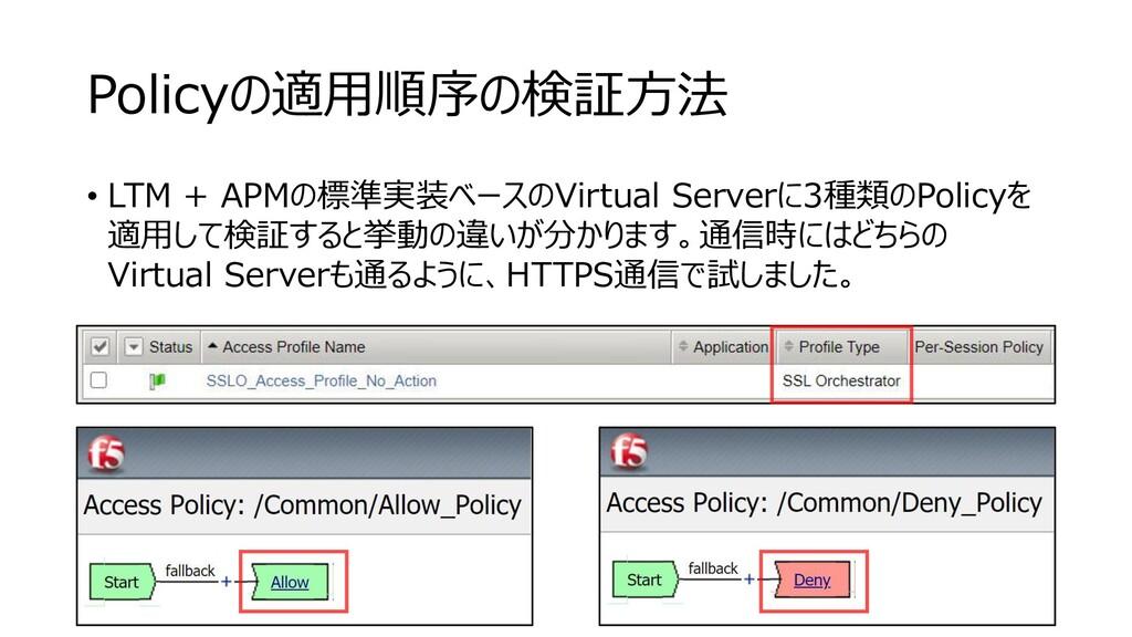 Policyの適用順序の検証方法 • LTM + APMの標準実装ベースのVirtual Se...