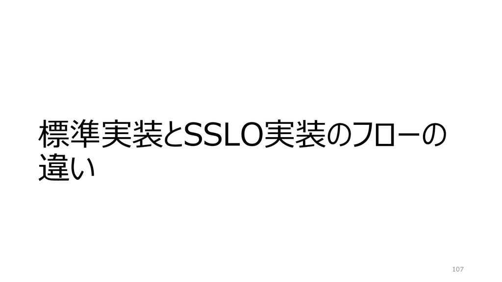 標準実装とSSLO実装のフローの 違い 107