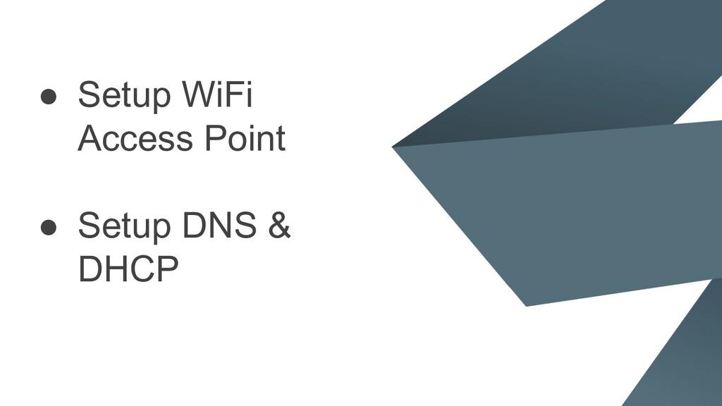 ● Setup WiFi Access Point ● Setup DNS & DHCP