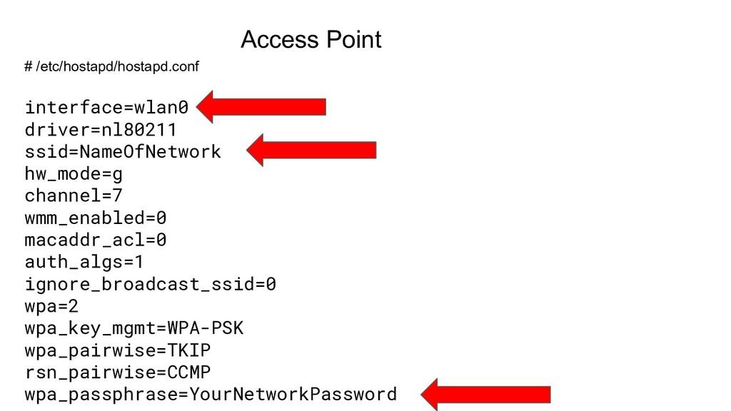 # /etc/hostapd/hostapd.conf interface=wlan0 dri...