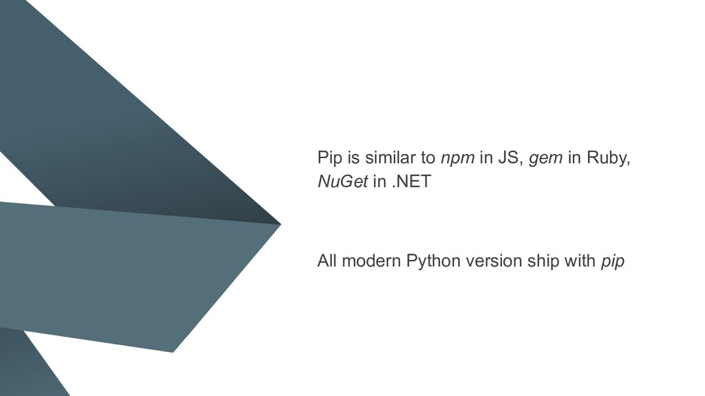 Pip is similar to npm in JS, gem in Ruby, NuGet...